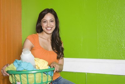 Woman with laundry basket