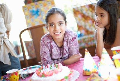 Girls (7-10) at birthday party