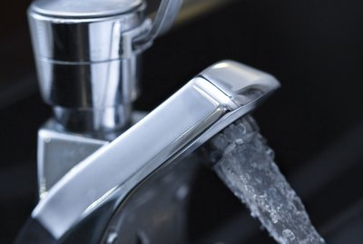 Water flowing from faucet