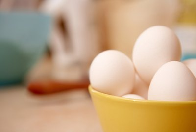 Eggs in bowl on kitchen counter