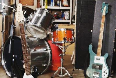 Band equipment in garage