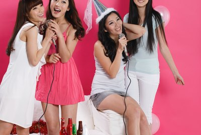 Group of young women at party