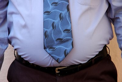 An overweight businessman