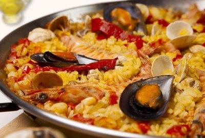 Spanish seafood rice paella, close up