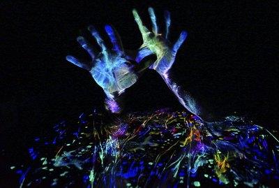 Fluorescent Hands - light painting neon