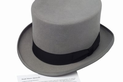 Elevated view of a top hat and speech