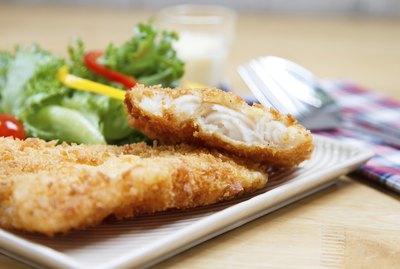 Fried fish fillet with vegetables