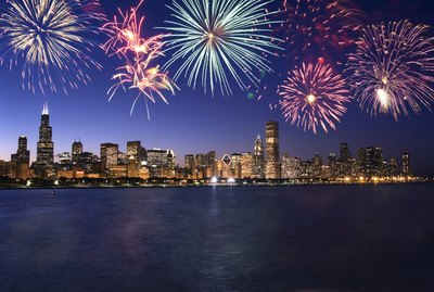 Fireworks over Chicago skyline