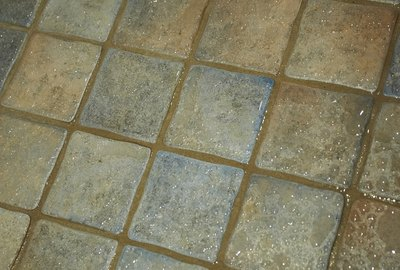 Wet tile floor