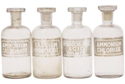 Antique glass chemical bottles