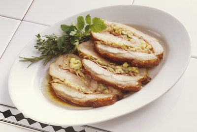 Veal loin (with courgette and herb stuffing)