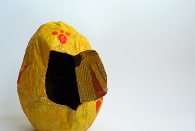 toy easter egg made with papier mache