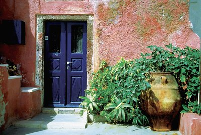 Potted plants outside a house, Santorini, Greece