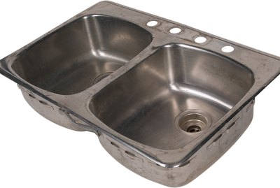 Still life of a stainless steel kitchen sink