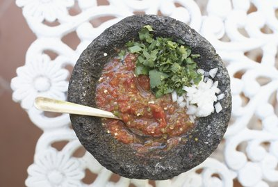 High angle view of a bowl of salsa