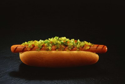 Foot-long hot dog with relish