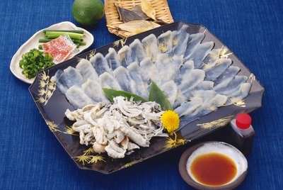 Sliced of Blowfish, High Angle View