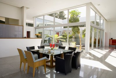 Modern dining room and atrium