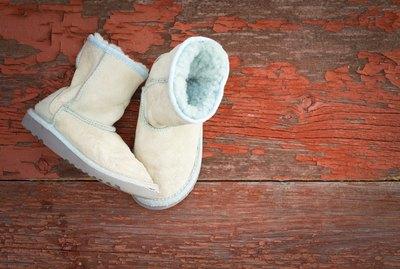 Warm winter sheepskin slippers