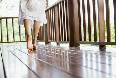 Woman walking on deck