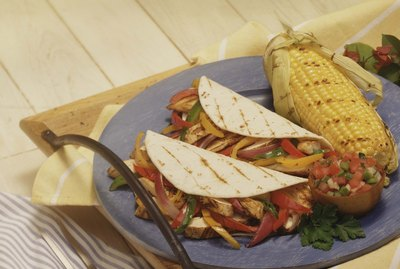 Fajitas with grilled salsa