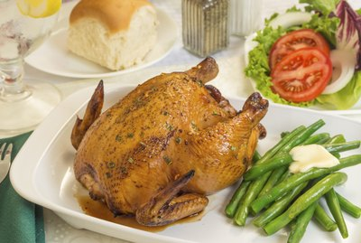 cornish game hen with fresh vegetables