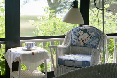 Wicker furniture on sun porch