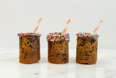 Milk and cookie shot glasses with straws