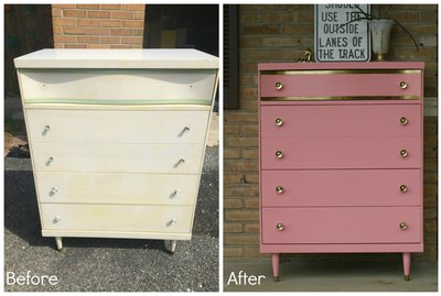 Gold leafed dresser before & after