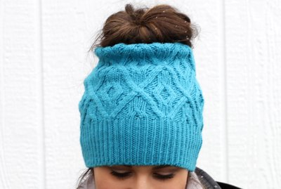 Finished Messy Bun Ponytail Hat