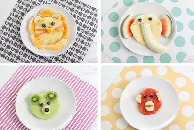Four plated animal snacks for kids