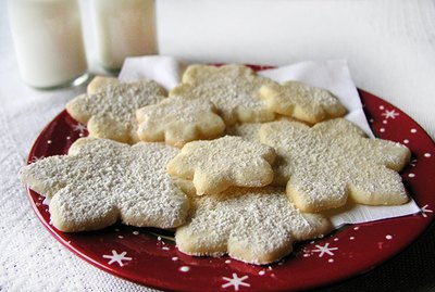 Snowflake shaped sugar cookies on a plate