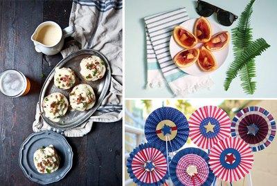 potatoes, jello shots and pinwheel flags.