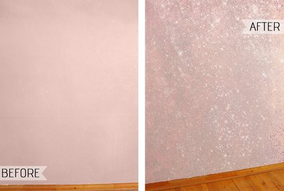How to Create a Show-Stopping Accent Wall With Sparkly Glitter Paint