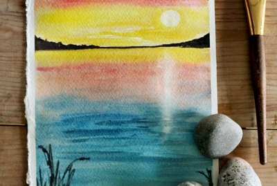 Sunset watercolor scene