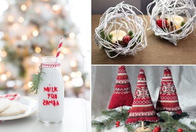 milk jar, twig balls, mini sweater christmas trees