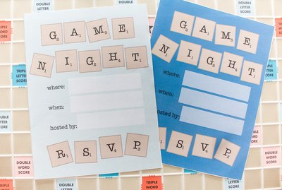 Scrabble game night invitations