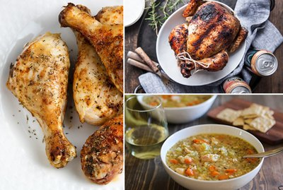 Drumsticks, a cooked chicken, and chicken soup.