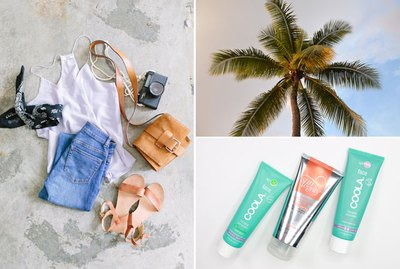 Clothes, a palm tree, and skin cream.