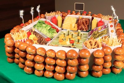 super bowl snack stadium featuring gourmet sliders
