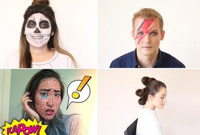 skeleton makeup, Ziggy stardust makeup, cartoon makeup and Star Wars makeup