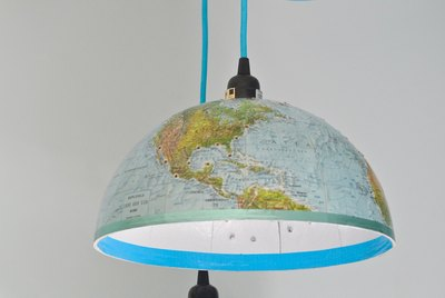 Turn vintage globes into a pair of fun DIY pendant lights.