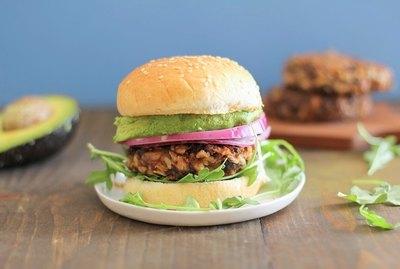 Veggie burger on a bun.