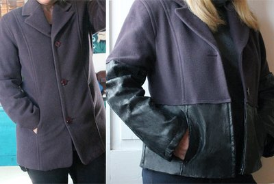 Before and after of refashioned wool coat