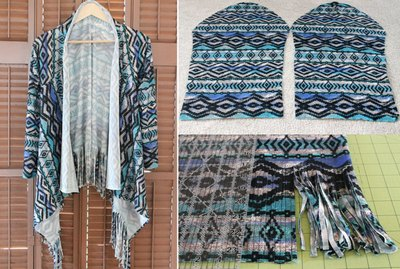 Easy DIY fringe cardigan finished picture.