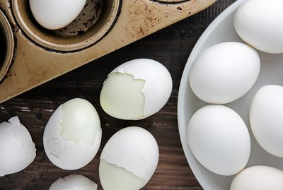Hard boiled eggs made in a muffin pan.