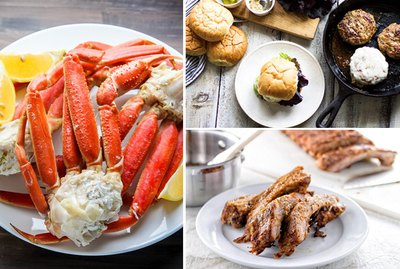 crab legs, turkey burgers and baby back ribs.