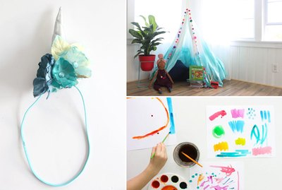 A unicorn headband, a fabric canopy and watercolor paints