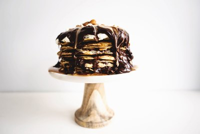This Dark Chocolate and Caramel Crepe Cake is indulgent and delicious!