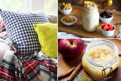 pillows, oatmeal and body scrub.
